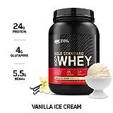 Optimum Nutrition ON Gold Standard Whey Protein Pulver, Eiweißpulver Muskelaufbau mit Glutamin und Aminosäuren, natürlich enthaltene BCAA, Vanilla Ice Cream, 29 Portionen, 908g