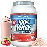 Body Attack - 100% Whey Protein, extra cremiges Eiweißpulver mit Hydrolysat und BCAA´s, unterstützt Muskelaufbau und Diäten, für alle Sportler & Athleten - Made in Germany – 900g (Strawberry)