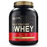 Optimum Nutrition ON Gold Standard Whey Protein Pulver, Eiweißpulver zum Muskelaufbau, natürlich enthaltene BCAA und Glutamin, French Vanilla Crème, 76 Portionen, 2.28kg, Verpackung kann Variieren