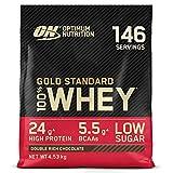 Optimum Nutrition ON Gold Standard Whey Protein Pulver, Eiweißpulver zum Muskelaufbau, natürlich enthaltene BCAA und Glutamin, Double Rich Chocolate, 146 Portionen, 4.53kg, Verpackung kann Variieren