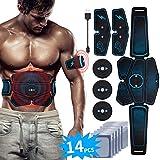 EMS Bauchmuskeltrainer USB Wiederaufladbar EMS Trainingsgerät für Arm Bauch Beine Bizeps Trizeps Abs Elektrostimulator 6 Modi 9 Intensitäten 14 Gratis Gelpads für Muskelaufbau und Fettverbrennung